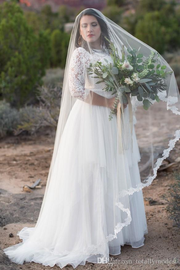 Discount Plus Size A Line Modest Wedding Dresses With 3/4 Sleeves Lace  Tulle A Line Country Informal Reception Bridal Gowns Custom Made Sale  Trendy ...