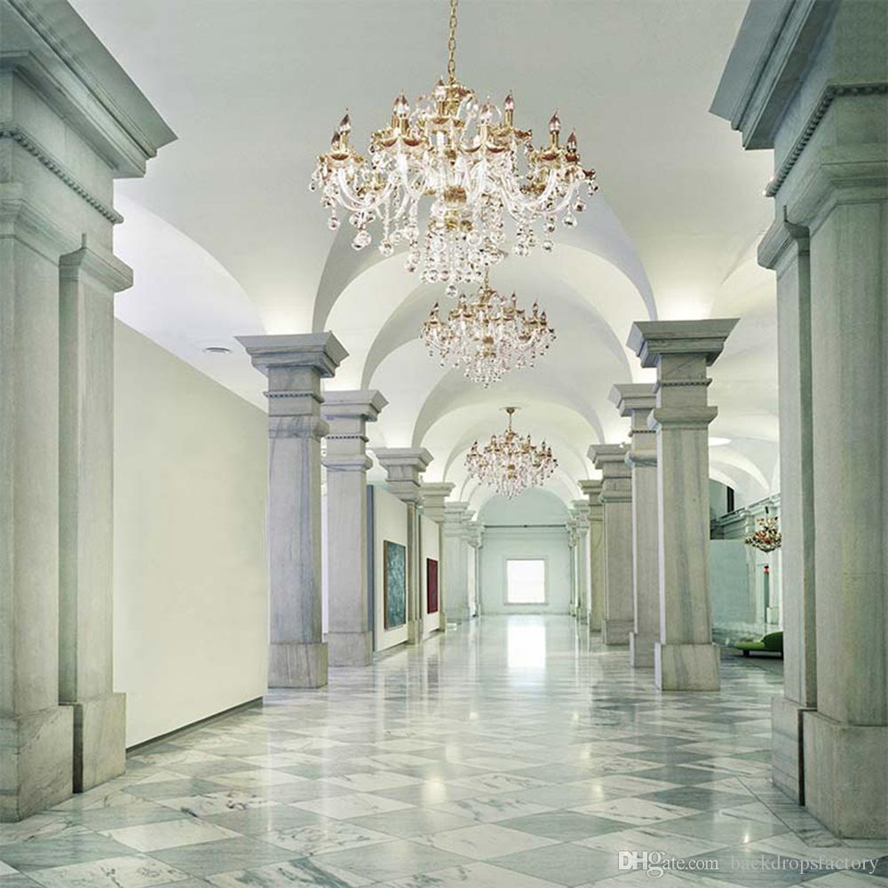 القصر الفاخرة كريستال الثريا الخلفيات الفينيل حجر أعمدة الداخلية صورة خلفية استوديو الزفاف بوث خلفيات الدعائم