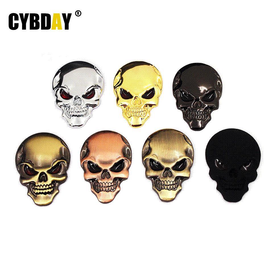 7 couleurs 3D Cool Car style crâne en métal squelette Devil 3D Chrome Auto Emblème Badge Sticker Moto Voiture Autocollants Accessoires
