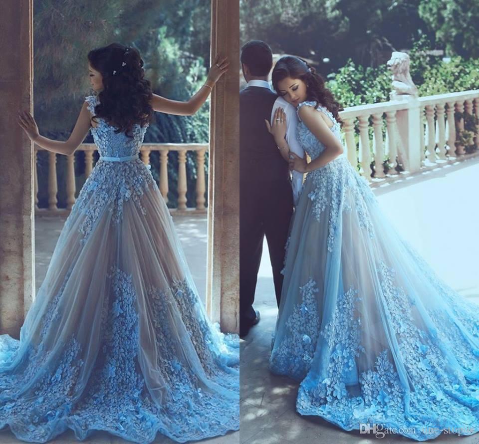 2017 appliques leichte himmel blau long prom kleider v-neck sweep train formale abend promi kleid bescheidene parteikleid