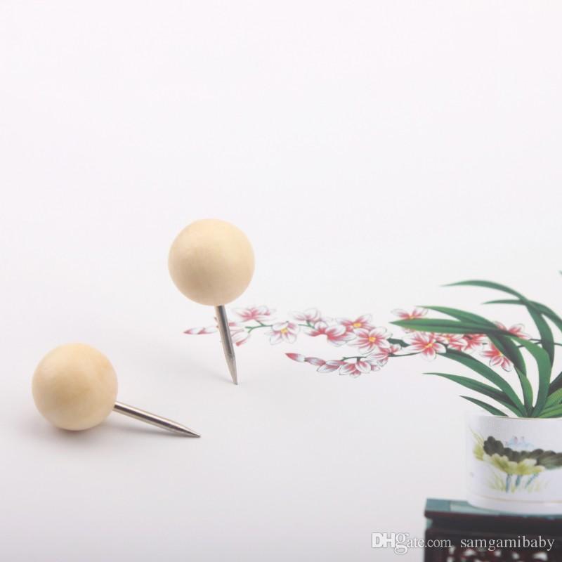200 pcs mode Sphère ronde de style en bois naturel Pousser Pins moderne Les Punaises en bois Livraison gratuite