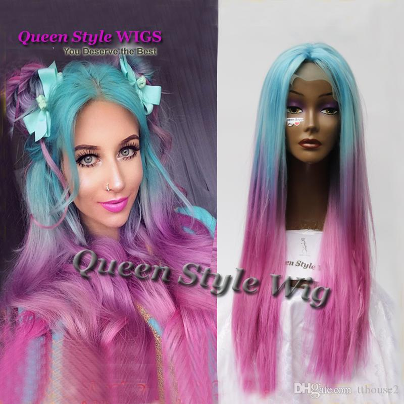 Pastel rainbow Color Wigs Synthetic Long straight None Lace Wig/ Lace Front Wig Colorful Hair Cosplay party pelucas wigs for Black Women