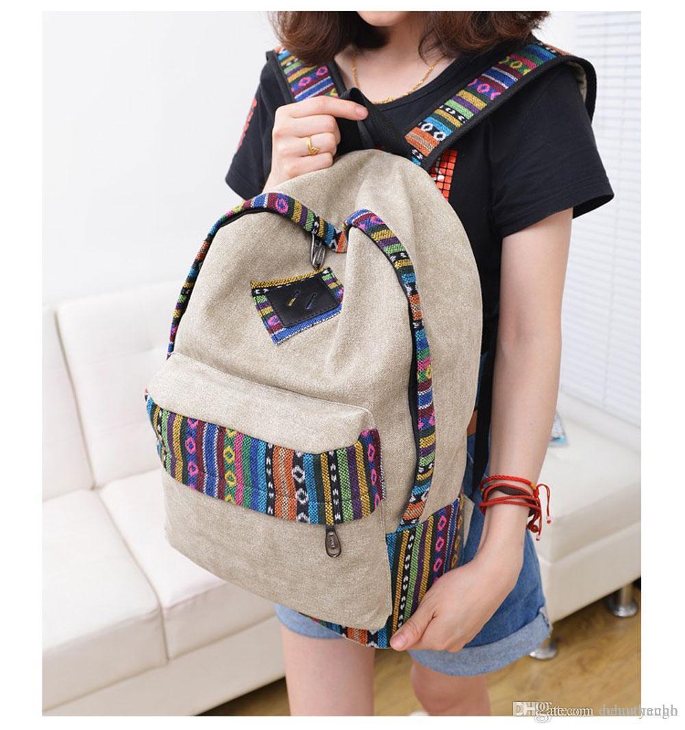 Sac durable ethnique Toile Zipper Fille Imprimer Floral Casual Color Block Femmes Toile Sac à dos pour ordinateur portable école Voyage + B