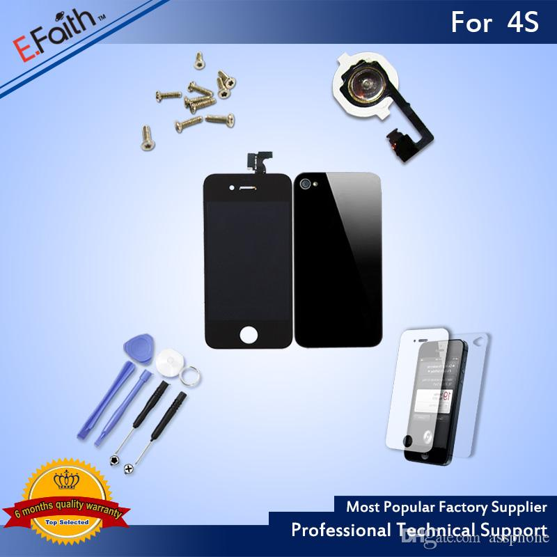 For Black iPhone 4S Full Complete LCD Screen Front Display Digitizer Assembly with Accessories & Free Shipping