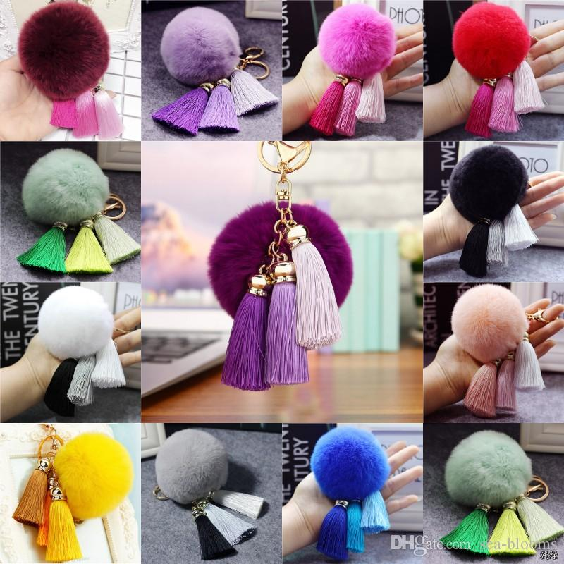 Hot Sale Tassel Pompom Car Key Ring Pendant Fur Ball Keychain Rabbit Fur Plush Fur Key Chian POM POM Keychain Free DHL B633S