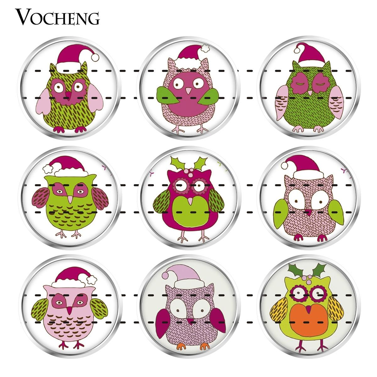 NOOSA Ginger Snap Jewelry Glass Snap Charms Button Lovely Owl Series 18mm Mixed 20pcs/lot Wholesale VOCHENG Vn-1818