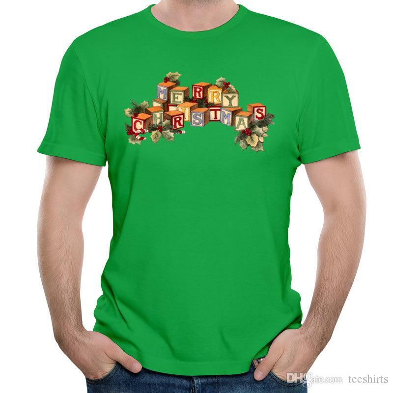 Como Decorar Una Camiseta De Navidad.Compre Feliz Navidad Estampado De Patron Estampado Camisetas De Hombre Camisas De Estilo Casual Con Manga Corta Y Cuello Redondo Camisetas De