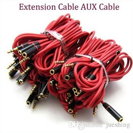Malloom 2017 1.2m 3.5mm Male to Female Stereo Audio Headphones Earphone Aux Extension Cord Cable for Mobile phone MP3 Player Red 500ps