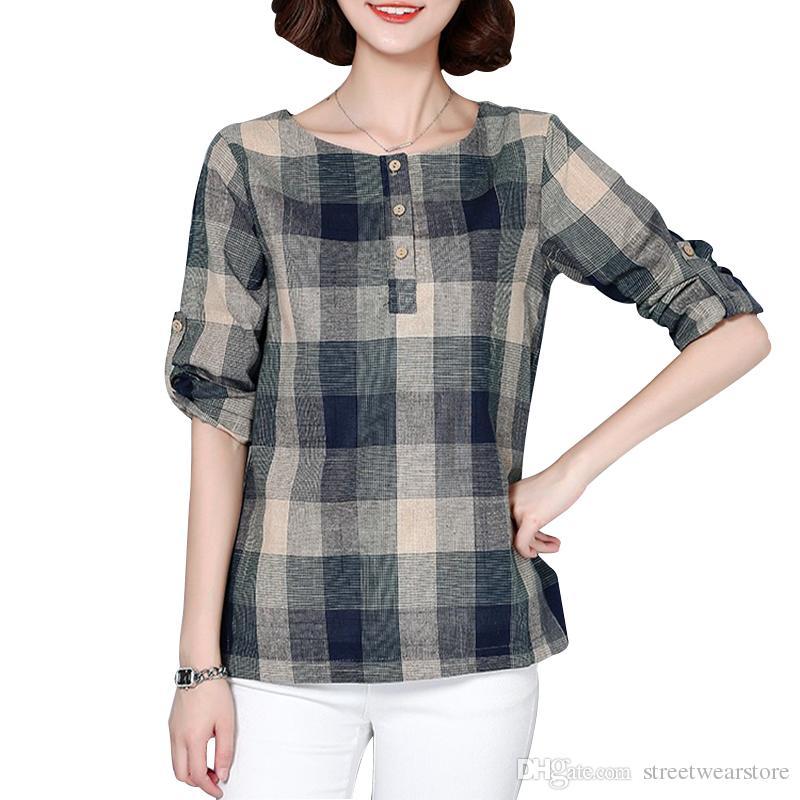 منقوشة قميص المرأة القطن الكتان بلوزة 2017 الخريف قمصان طويلة الأكمام فحص الكورية نمط الإناث عارضة قمم blusas femininas