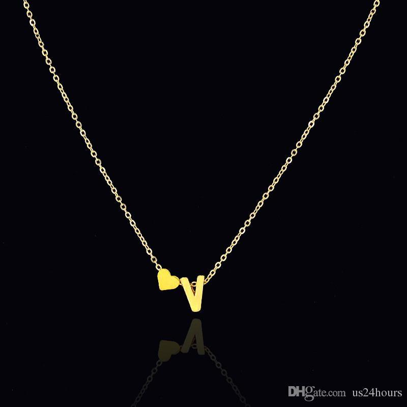 Fashion Personalized love heart Letter Alphabet Pendant Necklace Initial Couple Boyfriend Girlfriend Necklaces Charms For Women Mini Jewelry