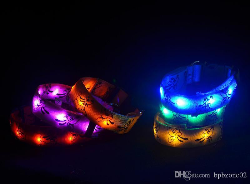 10pcs/lot 6 Colors Pluto Fiber LED Flash Pet Collar Ultra Flash Dog Collar Pet Leashes TPU Dog Suppliers