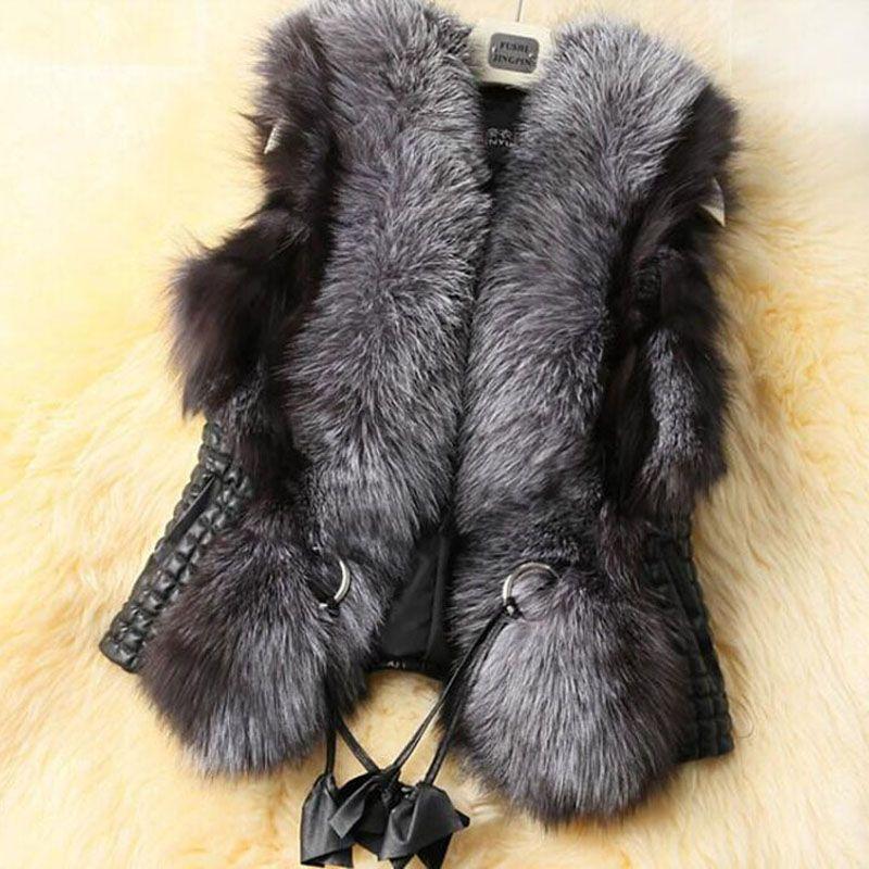 2016 Fausse Fourrure Gilet Femmes D'hiver Chaud Sans Manches Manteaux Survêtement En Faux Fourrure De Fourrure En Cuir Mince Gilet Élégant Veste Gilet S2464