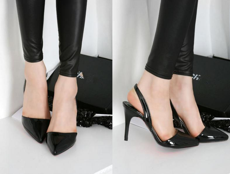 Plus Size 40 41 42 Sexy Nude Pumps Patent Leather Sling