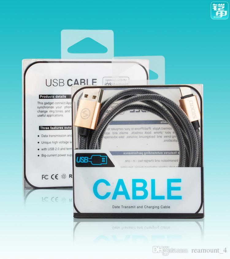 Atacado universal mobile phone micro usb pacote de cabo de pvc caixa de embalagem de varejo transparente para iphone 7 linha de dados