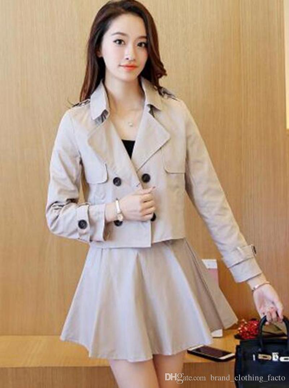 Qiu Dong Han Editionレジャーファッションデザインショー薄型段落ツーピーストレンチコート/ S-XLの女性らしい気質