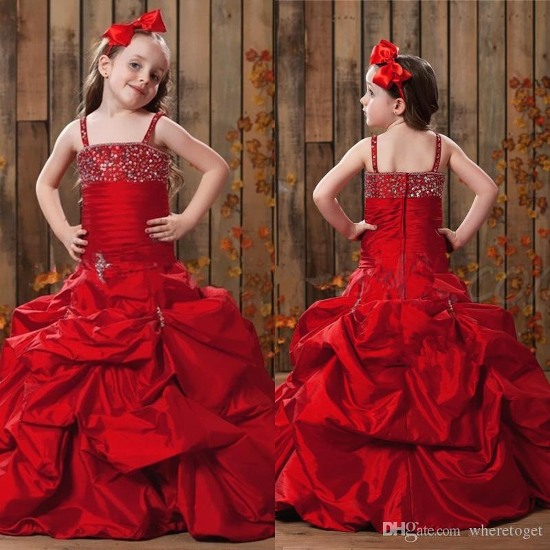 New Red Taffeta Flower Girl Dress Spaghet Straps Little with Beads Kids Party Gowns Girls Dresses Special Occasion Pageant Dresses