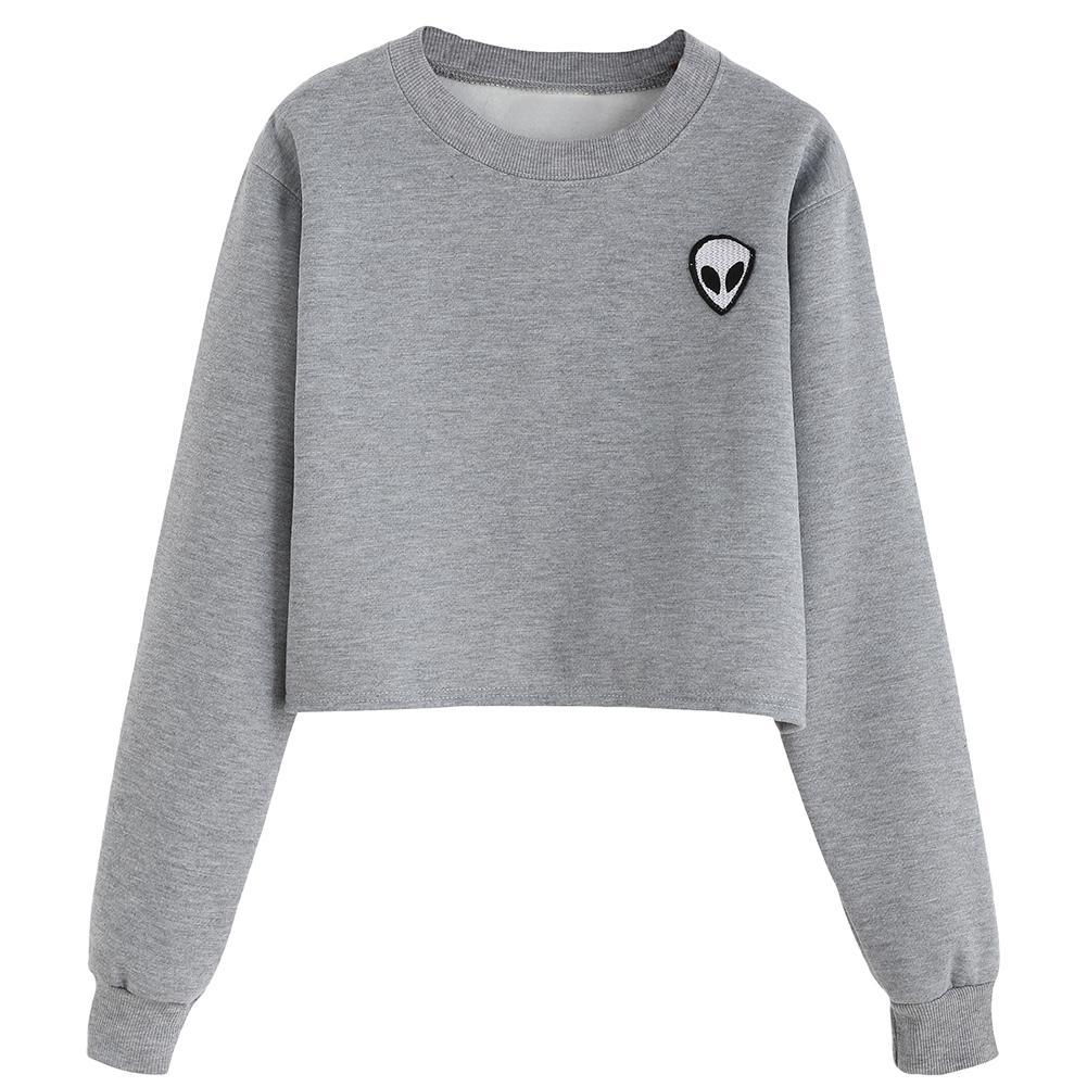 Wholesale - Sweat-shirt à manches longues à manches longues imprimées Alien 2017 Nouveau automne plus Sweat à capuche en velours Plus taille Casual Sweatshirts Crop Top