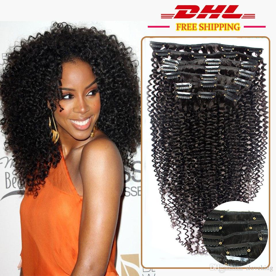 African American Clip In Human Hair Extensions Virgin Brazilian Hair Afro Kinky Curly Human Hair Clip Ins Full Head 100g 9Pcs
