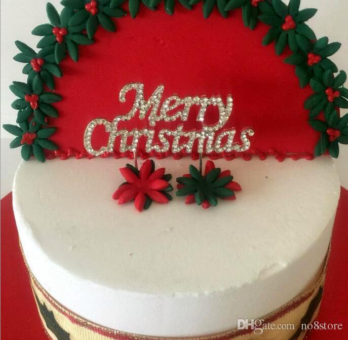 2018 Silver Diamond Rhinestones Merry Christmas Cake Topper For