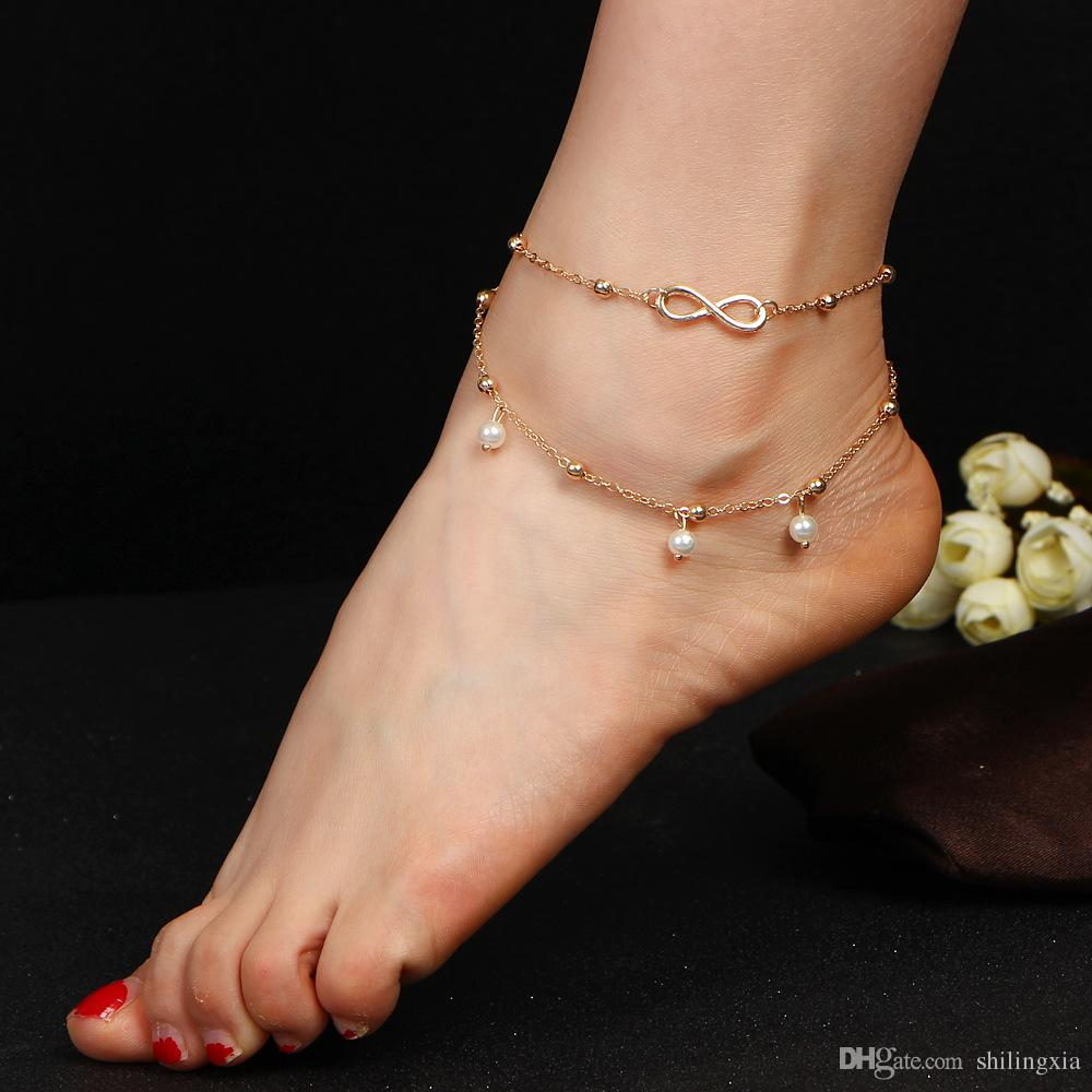 free shipping New Bohemian beach bikini Women foot anklet chain jewelry gift Bracelets Silver Plated pearl Foot Chain Anklets new
