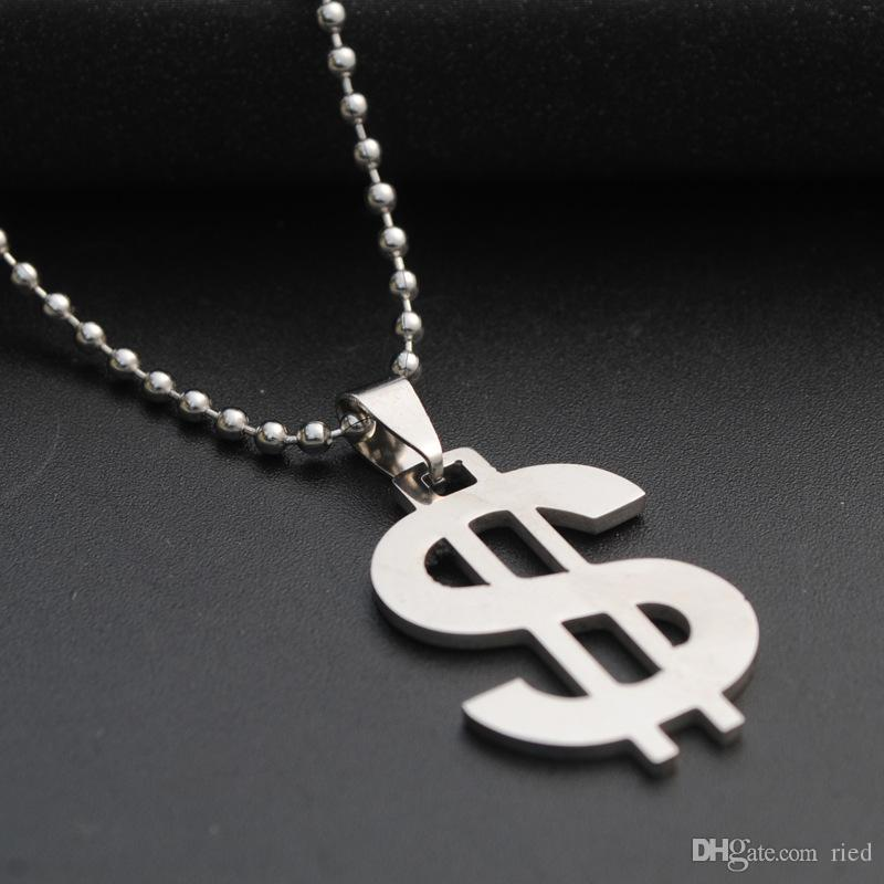 Classic Dollar Symbol Stainless Steel Pendant Necklace Silver Color Beads Chain Necklace For Women Men Fashion Jewelry