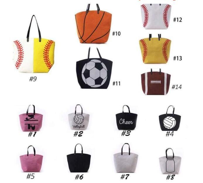 Açık çanta Kanvas Çanta Beyzbol Tote Spor Çantaları Rahat Softbol Çanta Futbol Futbol Basketbol Pamuk Kanvas Tote Çanta