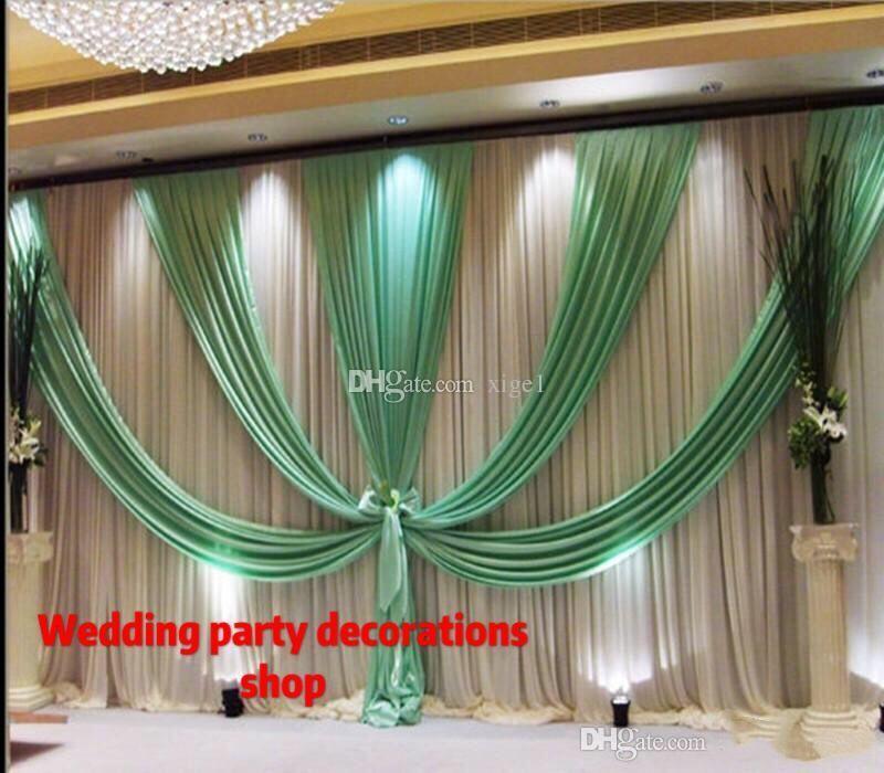 3m * 6m (10ft * 20ft) Hochzeit Kulisse Vorhang mit Beute Hintergrund / Hochzeitsdekoration romantische Ice Seide Bühnenvorhänge