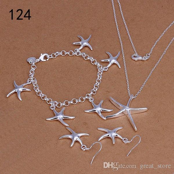 Kaliteli kadın 925 gümüş takı aynı fiyat mix tarzı gümüş Gerdanlık Bilezik Küpe Yüzük takı seti GTS58 setleri