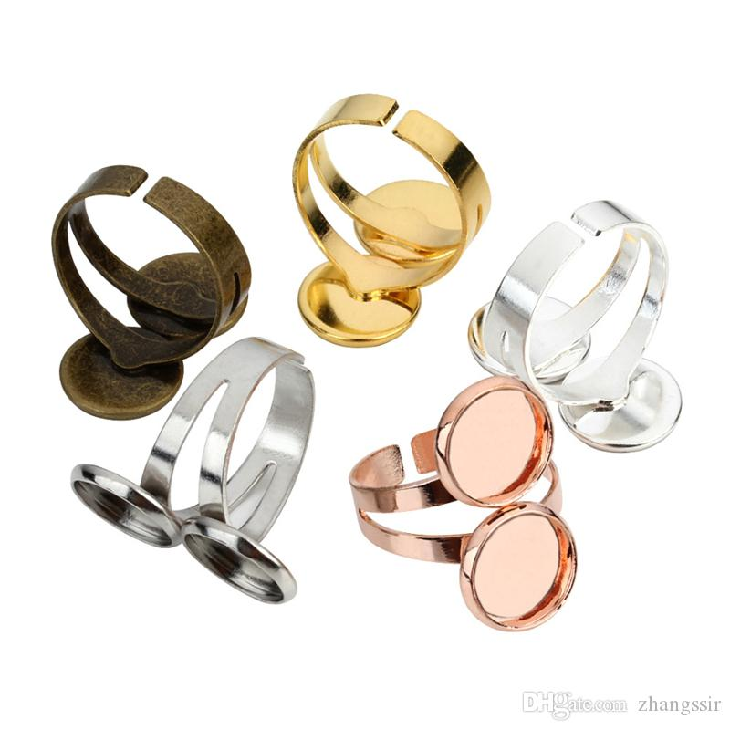 BoYuTe 20Pcs 2 Colors 12MM Cabochon Base Ring Settings Vintage Jewelry Findings & Components Adjustable Open Ring Base
