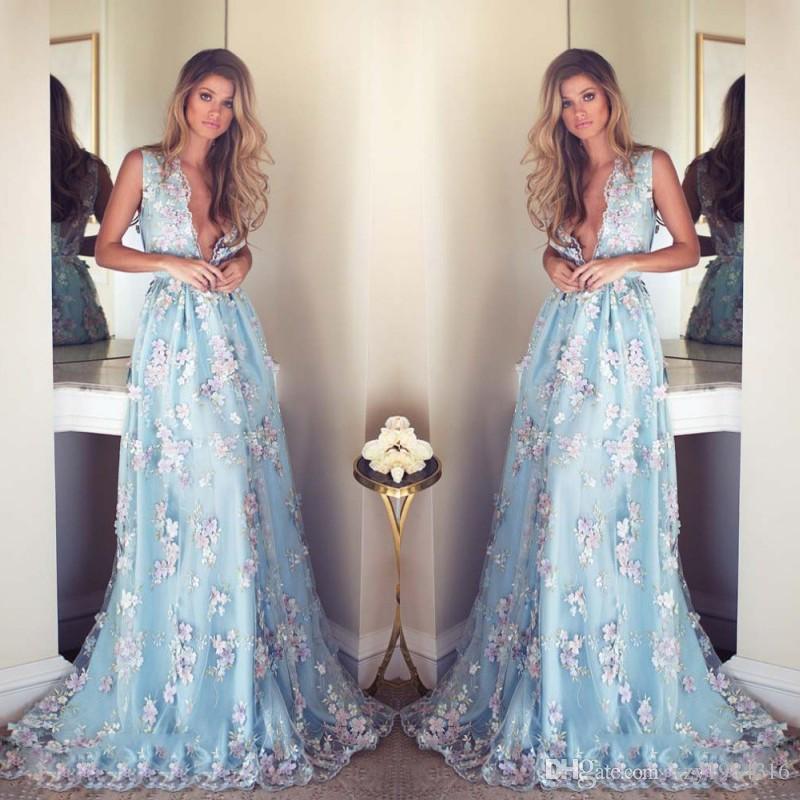 Maniche luce floreale Appliqueed sexy vestiti lunghi Prom profondo scollo a V Sky convenzionale blu dei vestiti da partito 2017 Piano Lunghezza celebrità Abito da sera