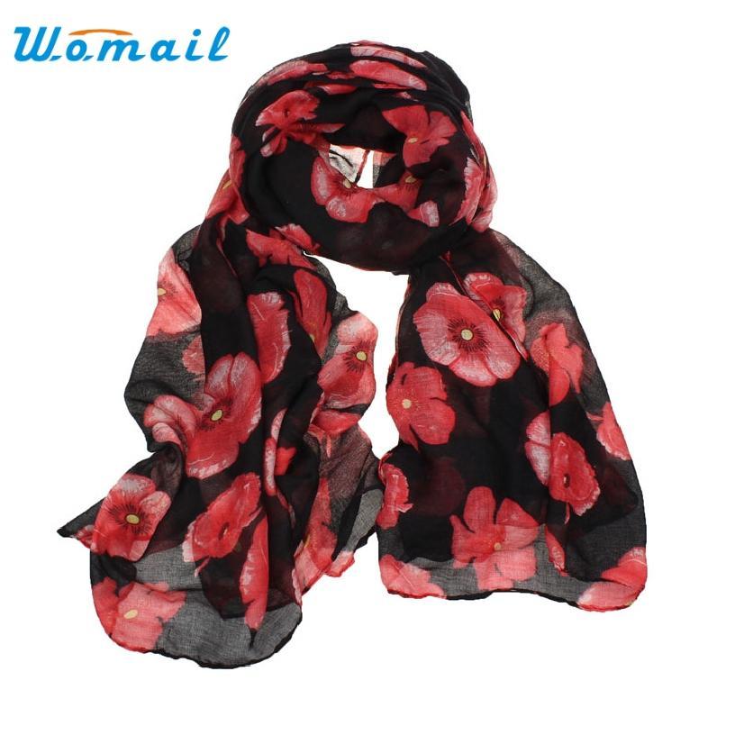 Al por mayor-Womail Buen trato Buena oferta Nuevas mujeres Red Poppy Estampado de flores Bufanda larga Flor Playa Envoltura de las señoras robó el mantón de regalo 1PC