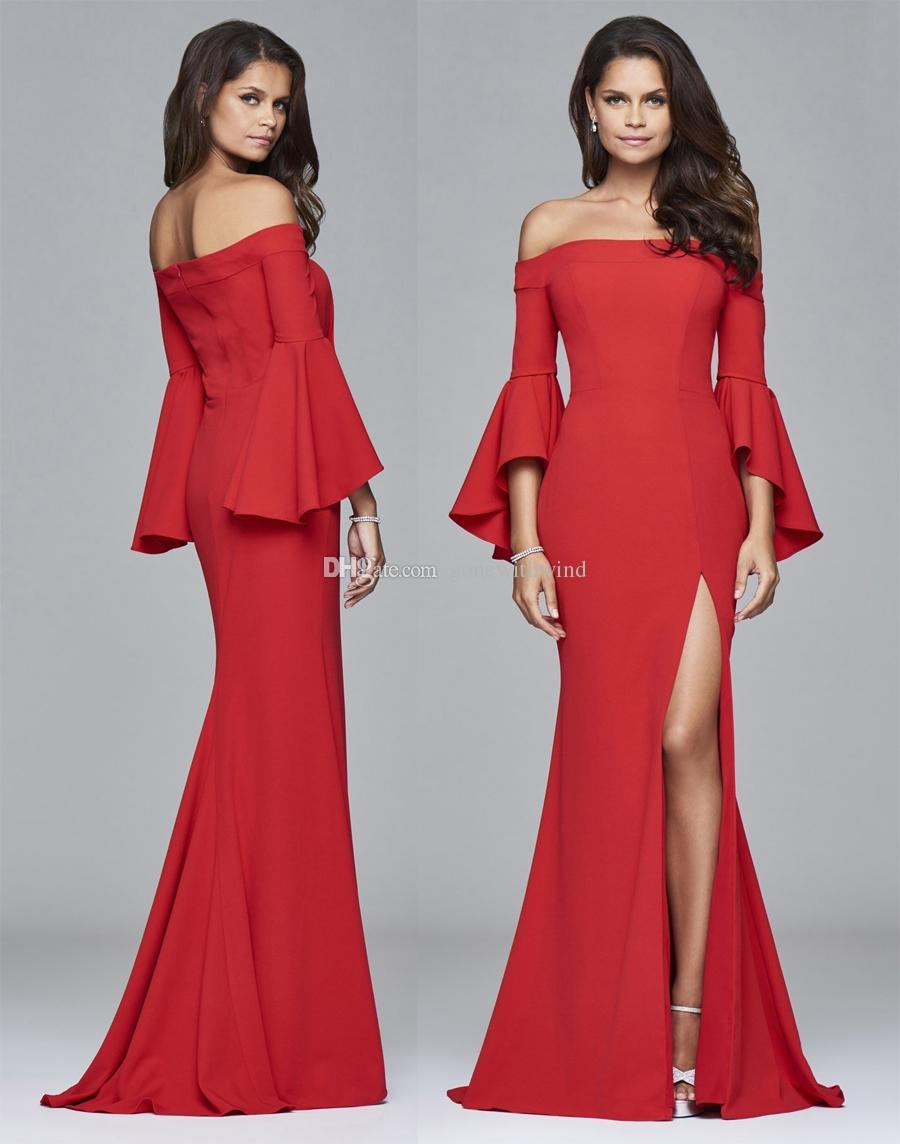 großhandel langes off the shoulder rotes crepe abendkleid 2017 sexy side  split ruffle sleeves fit und flare rock von gonewithwind, 168,45 € auf