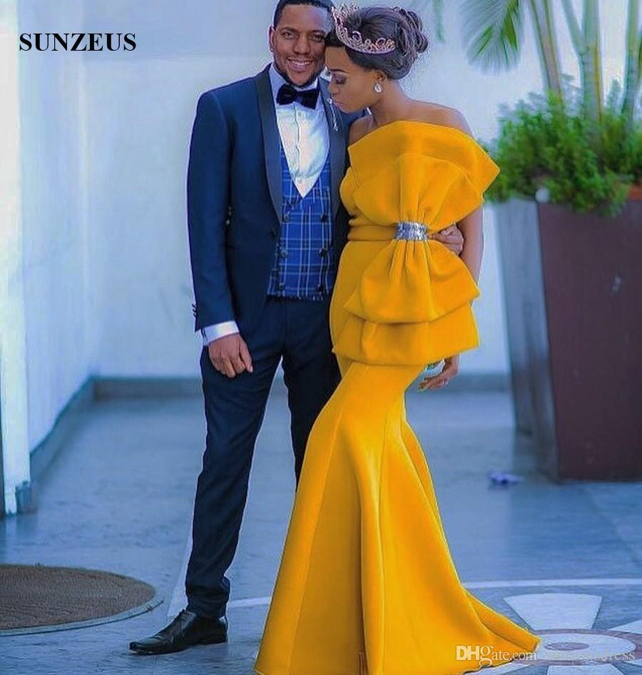 Sereia Querida Longo Amarelo Vestidos de Noite Com Grande Arco Mulheres Africanas Vestidos de Festa Elegante Formal
