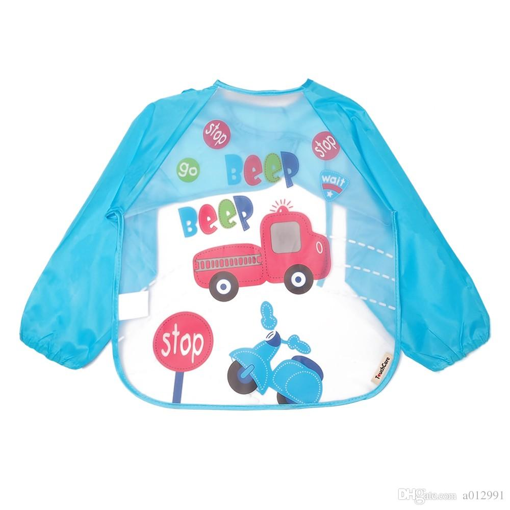 25 styles Cute Cartoon Colorful Baby Bibs Long Sleeve Art Apron Animal Smock Children Bib Burp Clothes Soft Feeding Eat Toddle Waterproof