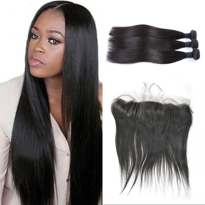 3 Bundles with Frontal 13x4 Silk Base Frontal with Bundles Mongolian Virgin Human Hair with Closure Straight Hair Extensions FDSHINE