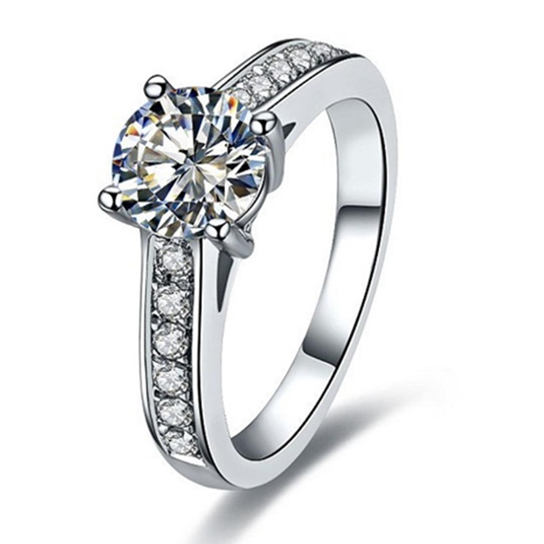 1CT Sterling Silver Jewelry C Brand Custom Copy Quality Ring for Women NSCD Diamond Ring Engagement Gift Semi Mount 18K White Gold Plated