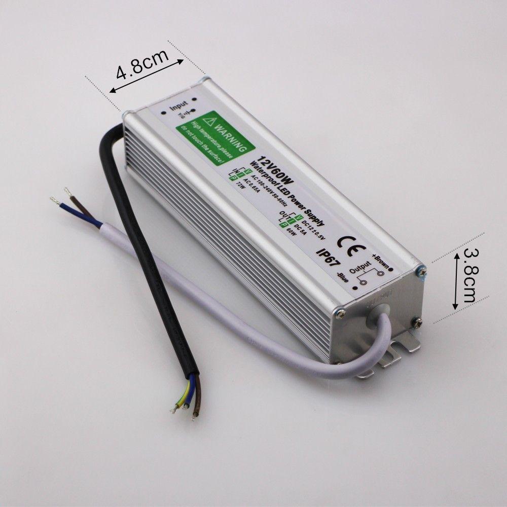 Ücretsiz kargo Yüksek Kalite Toptan Fiyat 12 V24 V 60 W LED Sürücü Su Geçirmez Güç Kaynağı Açık IP67 led şerit Dönüştürücü