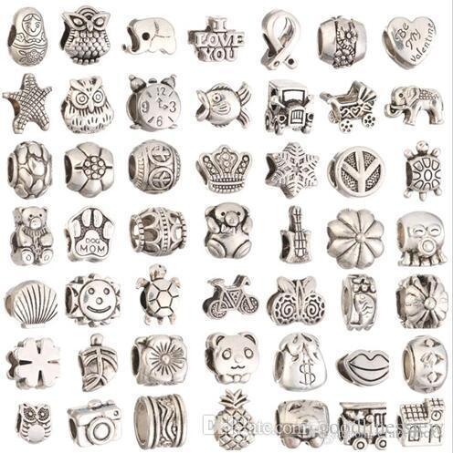 Per la creazione di gioielli Foro grande distanziatore allentato perline Charms Fai da te Commercio all'ingrosso di gioielli economici che fanno forniture per ciondoli braccialetto