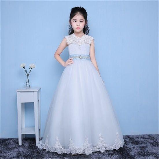 Совершенно новые платья для девочек-цветочниц с поездом Маленькие девочки Дети / Детское платье A-Line Причастие Конкурсное платье для свадьбы