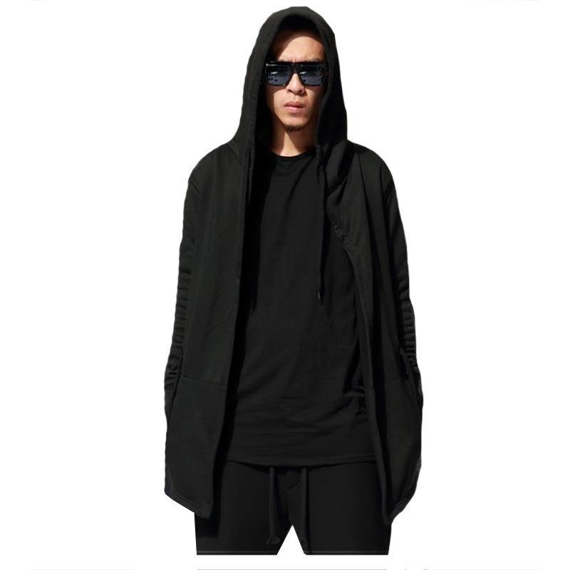 Venda quente Homens Hip Hop Com Capuz Hoodies Sólidos Manga Comprida Casual Roupas e Moletons Dos Homens Negros Treino Streetwear Cardigan