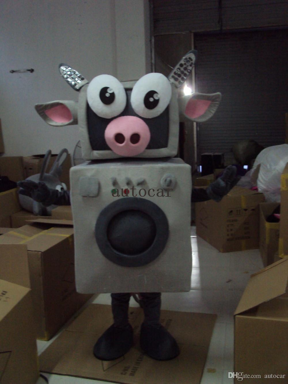 Makine sığır maskot Kostüm Yetişkin Karakter Kostüm maskotu moda ücretsiz kargo olarak