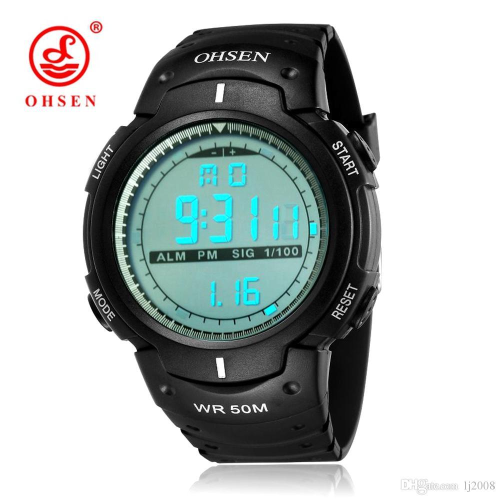Heißer Verkauf OHSEN Digitale Relogio Masculino Mans Armbanduhr Military Gummiband Alarm Datum LCD 50 Mt Schwimmen Sport Männlichen Mann Uhren Orologio Uomo
