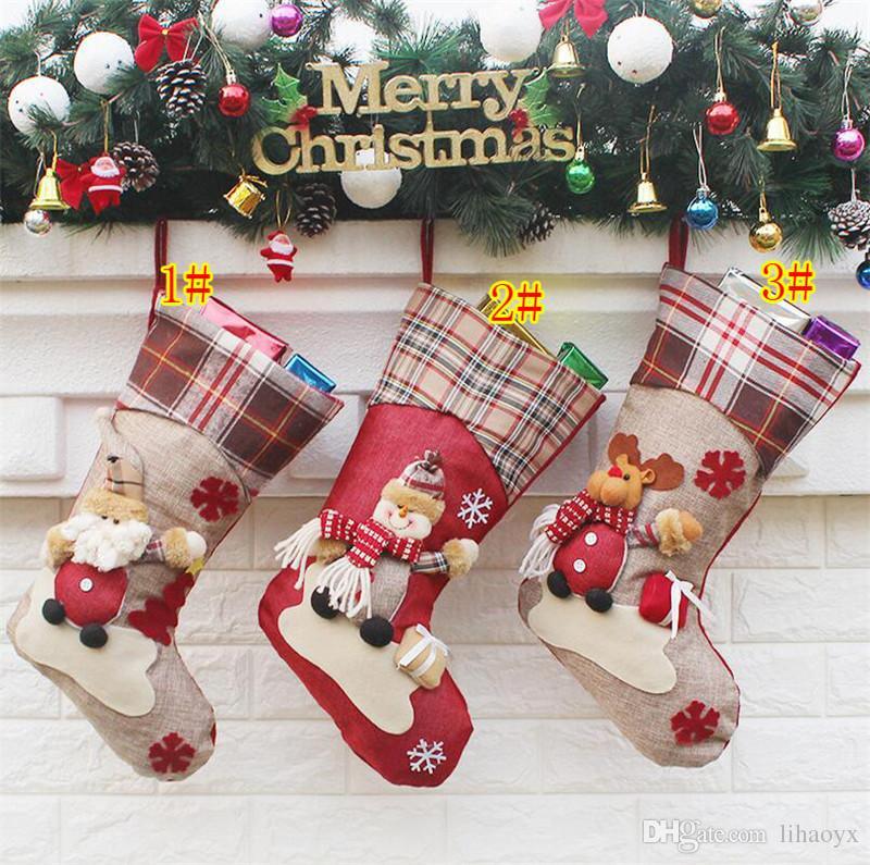 Подарки Сумка декор Прибытие Санта Рождество 2017 DHL Орнамент орнамент Сторона чулки Конфеты Рождественские украшения Чулки Носки Сумки Xmas 3 Стили УАДХ