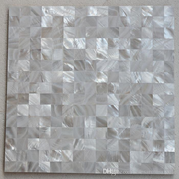 [FREE SHIPPING] 20x20mm chip size white color mother of pearl shell Tile , seamless tile, MgO board backer, fresh water shell tile ( MS018w)
