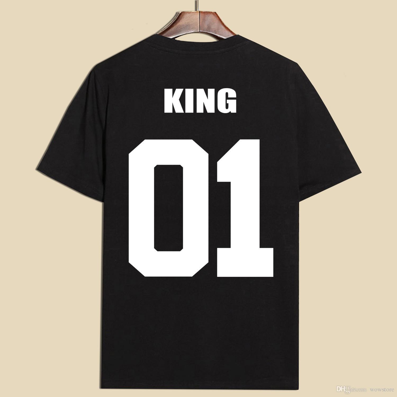Black t shirt unisex -  2017 Fashion King Queen Cotton T Shirts Black White Unisex Couple Lovers Short Sleeve Kids