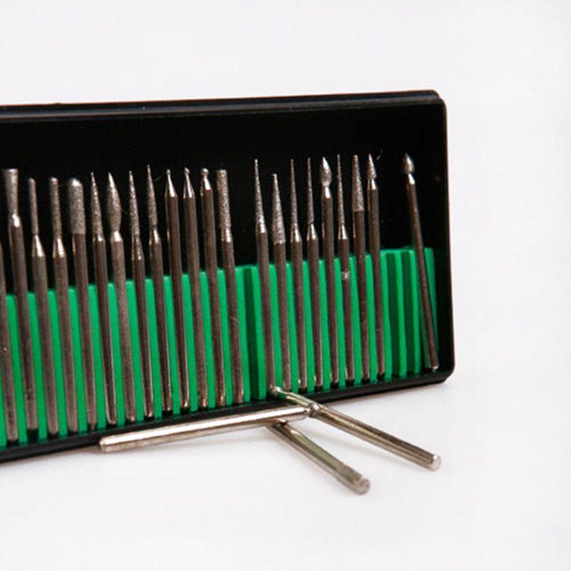 30pcs 3MM Titanium Diamond Burrs Bur Bit Set Dremel Rotary Tool Set