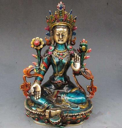 Bakır Pirinç ÇIN el sanatları Asya 8.66 inç Nefis Çin el oyması emaye işi budist Buda yeşil tara heykeli