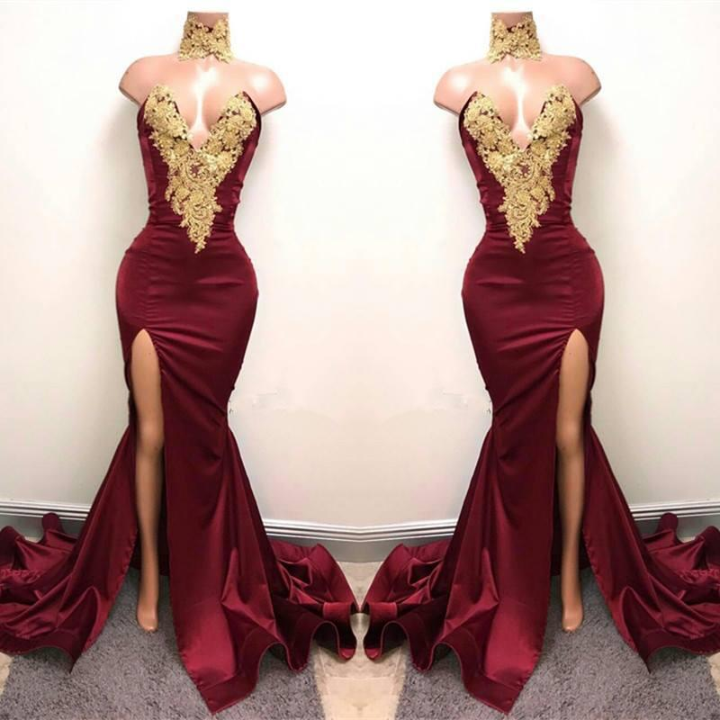 2017 Sexy Burgundy High Neck Mermaid Prom Dresses Gold Lace Appliques Side Split Evening Dresses Cheap Party Wear