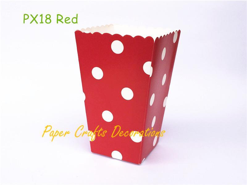 Al por mayor-24pcs / lot Red Polka Dots Party papel cajas de palomitas de caramelo Favor bolsas de boda cumpleaños noche de la película del partido suministros