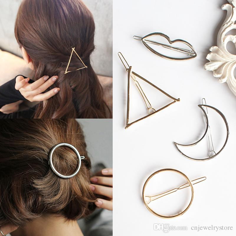 2017 New Promotion Trendy Vintage Circle Lip Moon Triangle Hair Pin Clip Hairpin Pretty Womens Girls Metal Jewelry Accessories